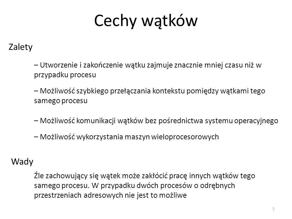 Semafory 36 Semafor to struktura danych wspólna dla kilku procesów.