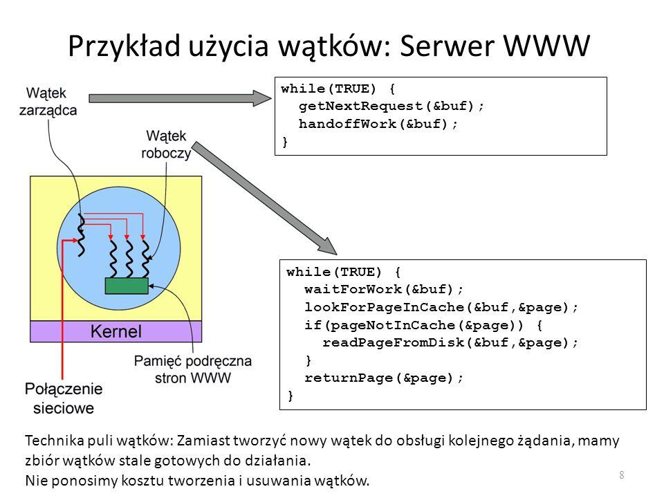 Przykład użycia wątków: Serwer WWW 8 while(TRUE) { getNextRequest(&buf); handoffWork(&buf); } while(TRUE) { waitForWork(&buf); lookForPageInCache(&buf