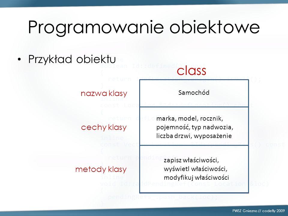 Programowanie obiektowe Przykład obiektu PWSZ Gniezno // codefly 2009 Samochód marka, model, rocznik, pojemność, typ nadwozia, liczba drzwi, wyposażen