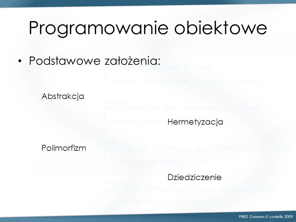Programowanie obiektowe Podstawowe założenia: PWSZ Gniezno // codefly 2009 Abstrakcja Hermetyzacja Polimorfizm Dziedziczenie