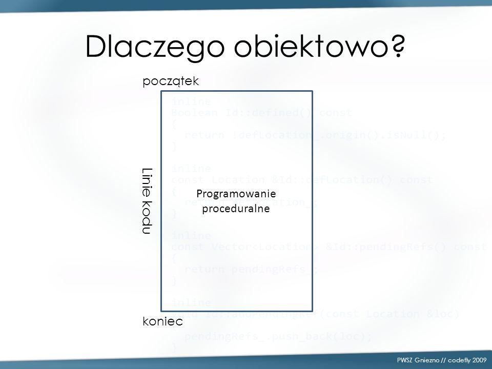 Dlaczego obiektowo? PWSZ Gniezno // codefly 2009 Programowanie proceduralne początek koniec Linie kodu
