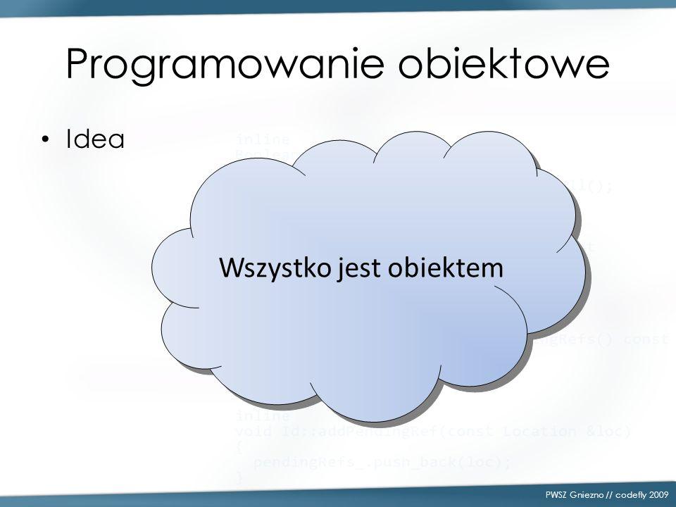 Idea PWSZ Gniezno // codefly 2009 Wszystko jest obiektem Programowanie obiektowe