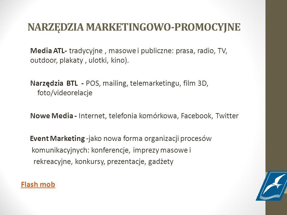 NARZĘDZIA MARKETINGOWO-PROMOCYJNE Media ATL- tradycyjne, masowe i publiczne: prasa, radio, TV, outdoor, plakaty, ulotki, kino). Narzędzia BTL - POS, m