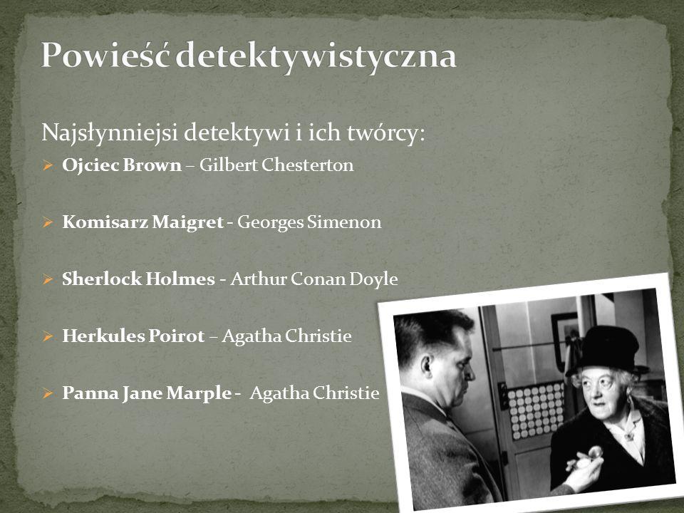 Najsłynniejsi detektywi i ich twórcy: Ojciec Brown – Gilbert Chesterton Komisarz Maigret - Georges Simenon Sherlock Holmes - Arthur Conan Doyle Herkules Poirot – Agatha Christie Panna Jane Marple - Agatha Christie