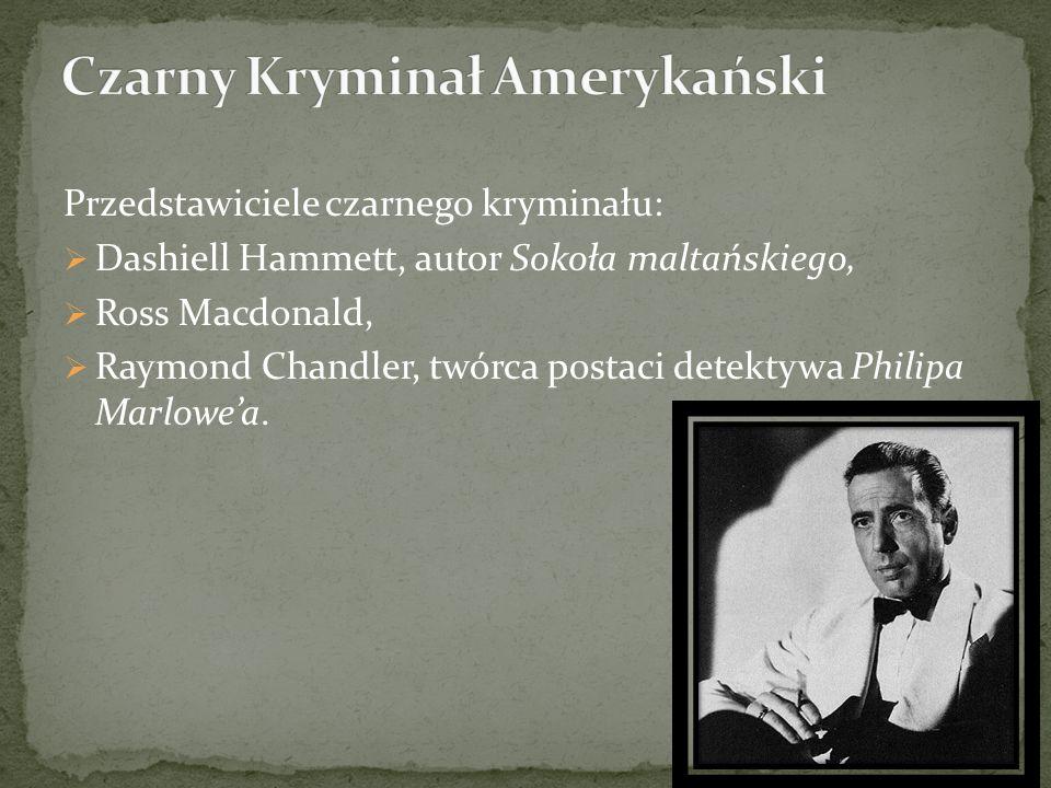 Przedstawiciele czarnego kryminału: Dashiell Hammett, autor Sokoła maltańskiego, Ross Macdonald, Raymond Chandler, twórca postaci detektywa Philipa Marlowea.