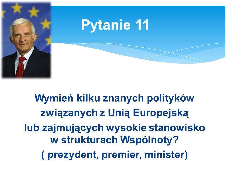 Wymień kilku znanych polityków związanych z Unią Europejską lub zajmujących wysokie stanowisko w strukturach Wspólnoty.