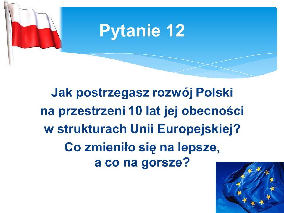 Jak postrzegasz rozwój Polski na przestrzeni 10 lat jej obecności w strukturach Unii Europejskiej.