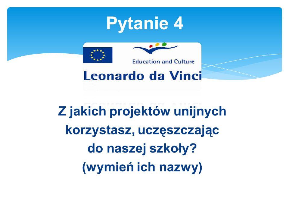 Z jakich projektów unijnych korzystasz, uczęszczając do naszej szkoły (wymień ich nazwy) Pytanie 4