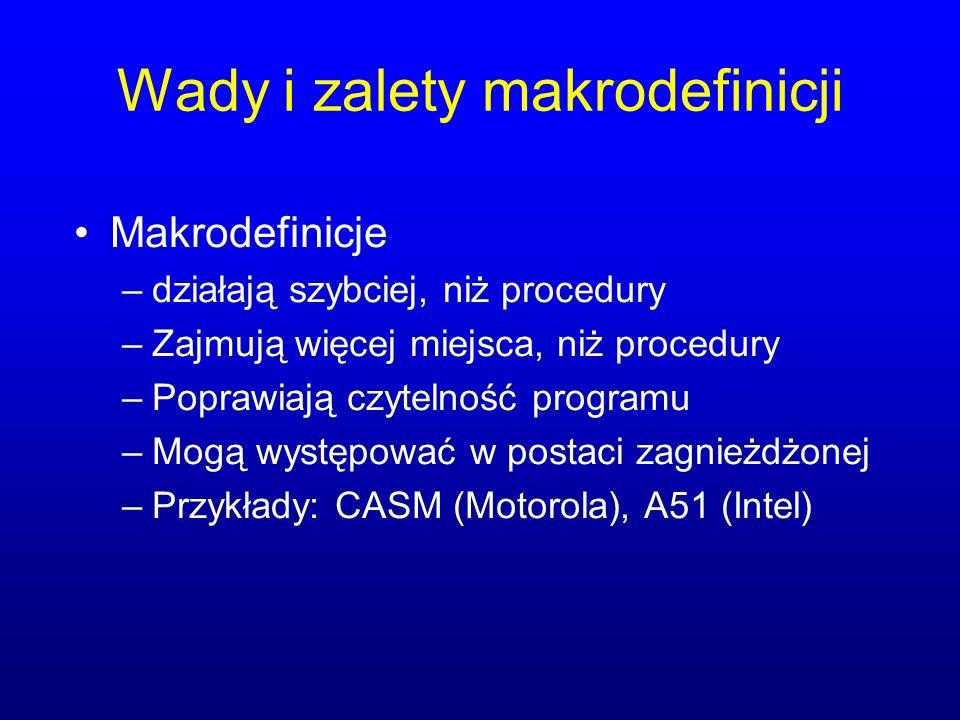 Wady i zalety makrodefinicji Makrodefinicje –działają szybciej, niż procedury –Zajmują więcej miejsca, niż procedury –Poprawiają czytelność programu –