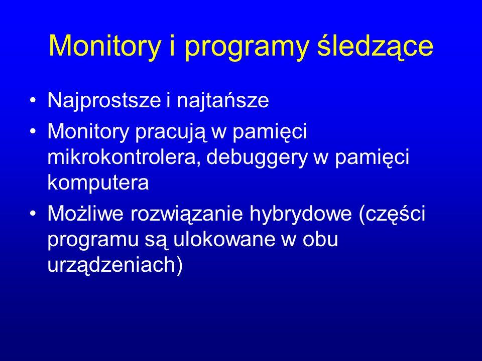 Monitory i programy śledzące Najprostsze i najtańsze Monitory pracują w pamięci mikrokontrolera, debuggery w pamięci komputera Możliwe rozwiązanie hybrydowe (części programu są ulokowane w obu urządzeniach)
