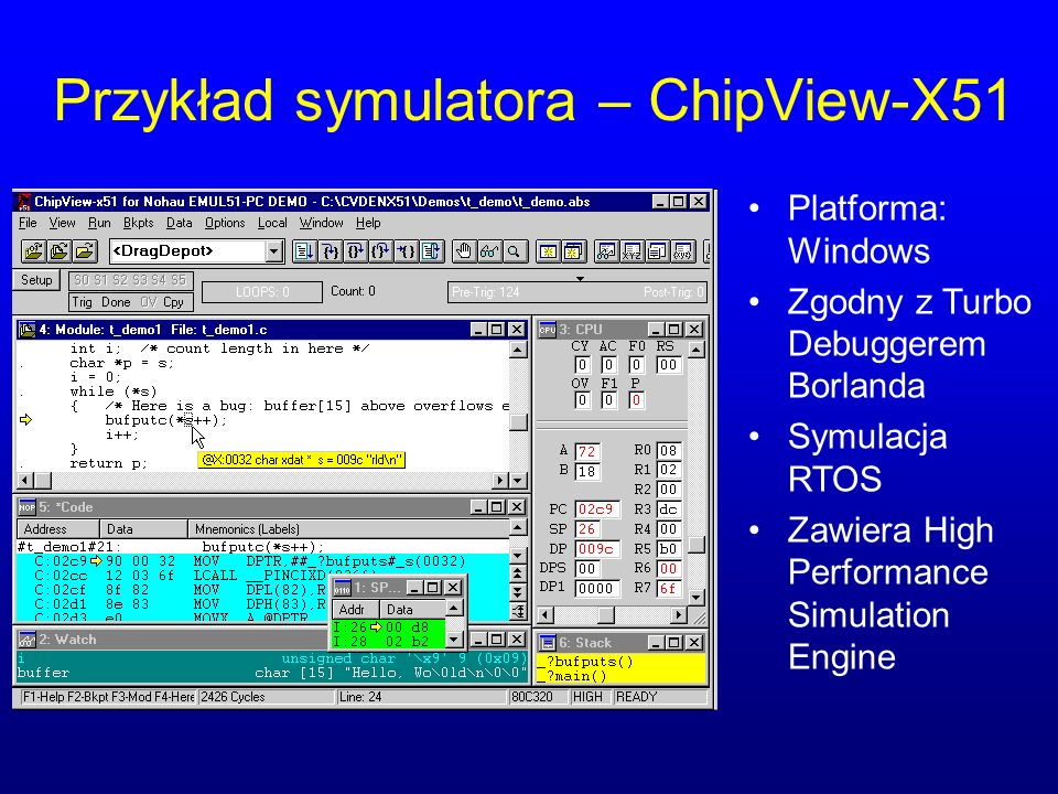 Przykład symulatora – ChipView-X51 Platforma: Windows Zgodny z Turbo Debuggerem Borlanda Symulacja RTOS Zawiera High Performance Simulation Engine