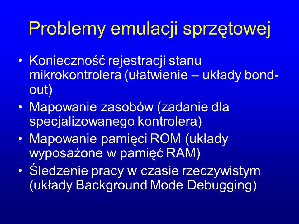Problemy emulacji sprzętowej Konieczność rejestracji stanu mikrokontrolera (ułatwienie – układy bond- out) Mapowanie zasobów (zadanie dla specjalizowa