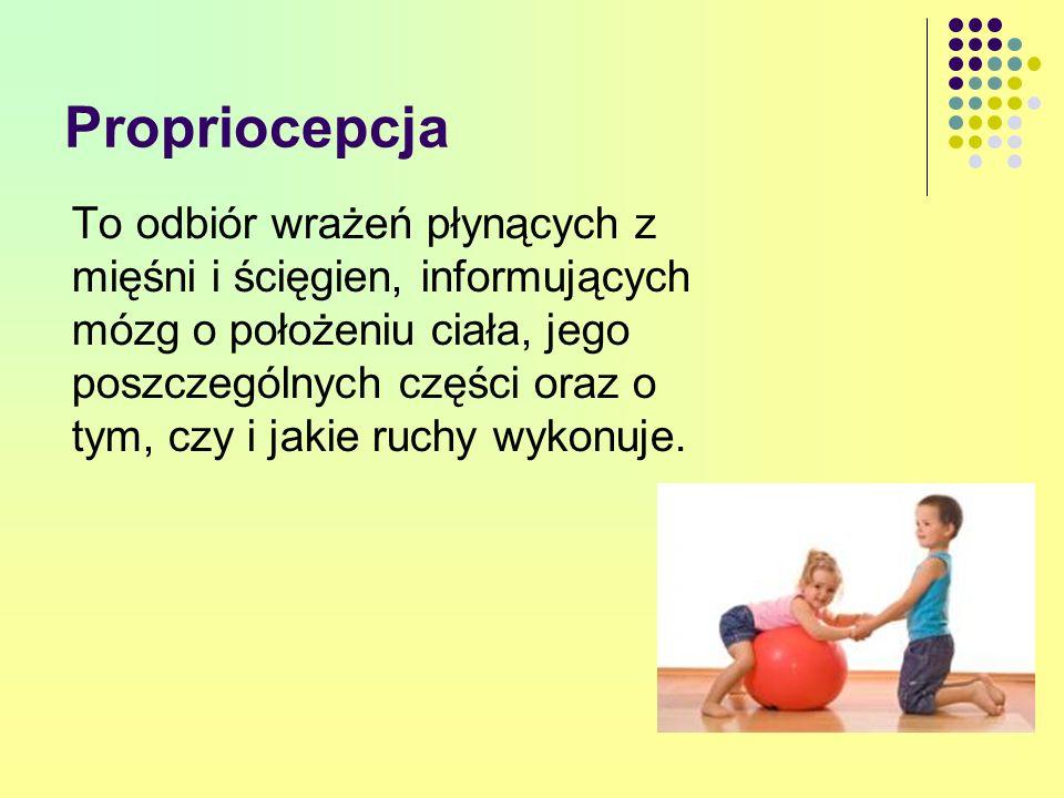 Propriocepcja To odbiór wrażeń płynących z mięśni i ścięgien, informujących mózg o położeniu ciała, jego poszczególnych części oraz o tym, czy i jakie
