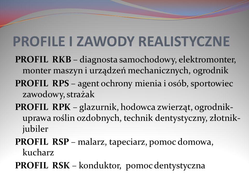 PROFILE I ZAWODY REALISTYCZNE PROFIL RKB – diagnosta samochodowy, elektromonter, monter maszyn i urządzeń mechanicznych, ogrodnik PROFIL RPS – agent o