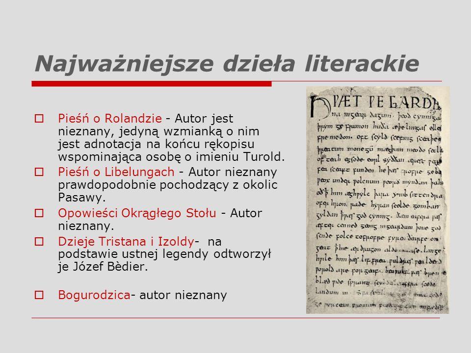 Najważniejsze dzieła literackie Pieśń o Rolandzie - Autor jest nieznany, jedyną wzmianką o nim jest adnotacja na końcu rękopisu wspominająca osobę o i