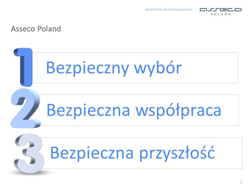 solutions for demanding business 2 Asseco Poland Bezpieczny wybór Bezpieczna współpraca Bezpieczna przyszłość