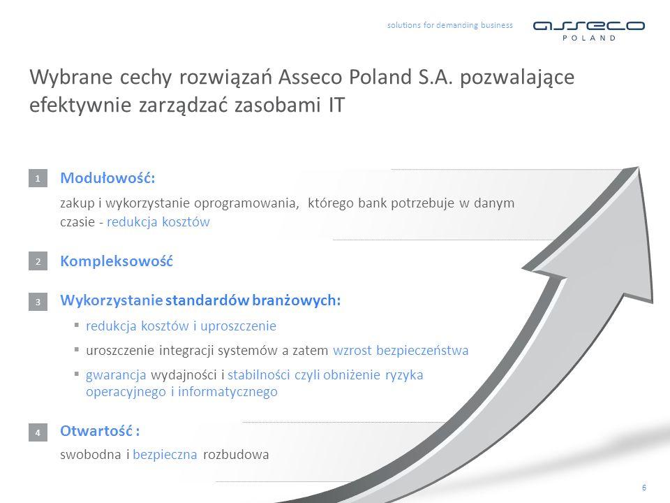 solutions for demanding business 6 Modułowość: zakup i wykorzystanie oprogramowania, którego bank potrzebuje w danym czasie - redukcja kosztów Wybrane cechy rozwiązań Asseco Poland S.A.