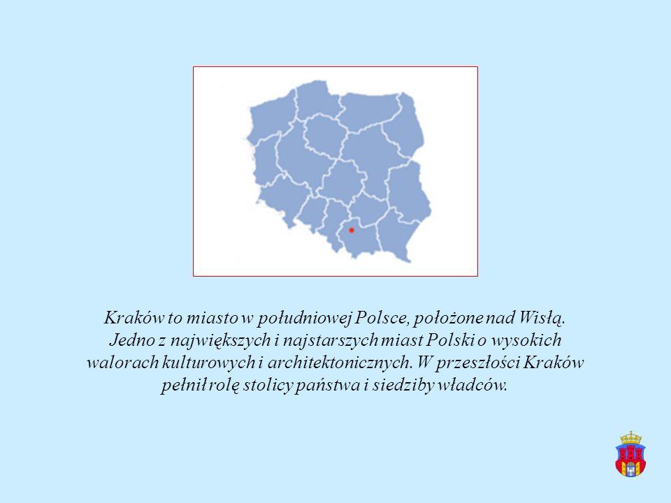 Kraków to miasto w południowej Polsce, położone nad Wisłą. Jedno z największych i najstarszych miast Polski o wysokich walorach kulturowych i architek