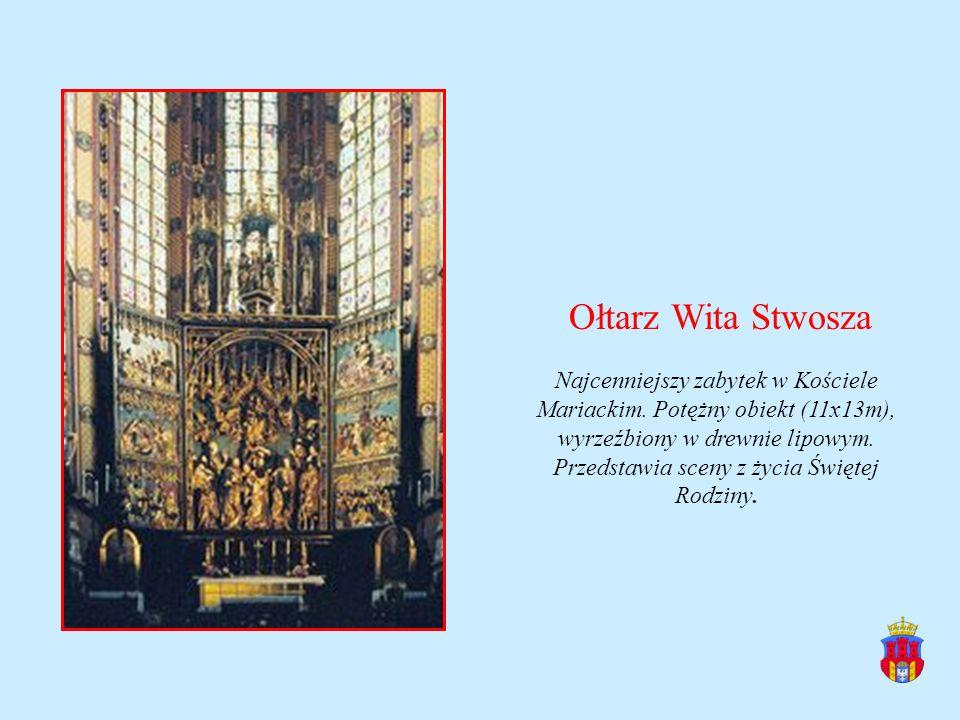 Ołtarz Wita Stwosza Najcenniejszy zabytek w Kościele Mariackim. Potężny obiekt (11x13m), wyrzeźbiony w drewnie lipowym. Przedstawia sceny z życia Świę