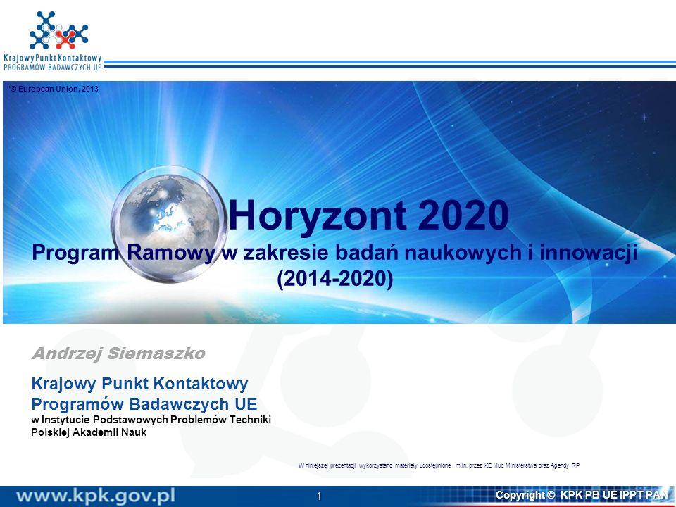 1 Copyright © KPK PB UE IPPT PAN Horyzont 2020 Program Ramowy w zakresie badań naukowych i innowacji (2014-2020) Andrzej Siemaszko Krajowy Punkt Konta