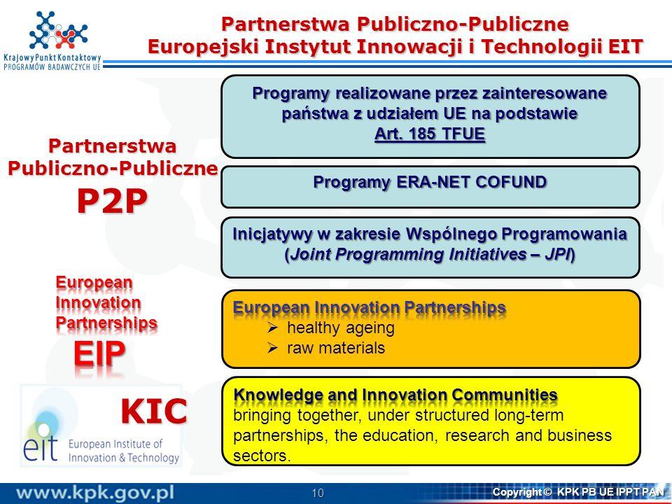 10 Copyright © KPK PB UE IPPT PAN Partnerstwa Publiczno-Publiczne Europejski Instytut Innowacji i Technologii EIT Programy realizowane przez zainteresowane państwa z udziałem UE na podstawie Art.