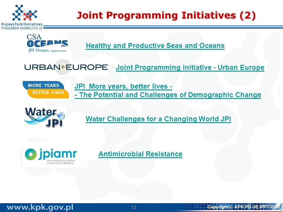 12 Copyright © KPK PB UE IPPT PAN Joint Programming Initiatives (2) Joint Programming Initiative - Urban Europe JPI More years, better lives - The Pot