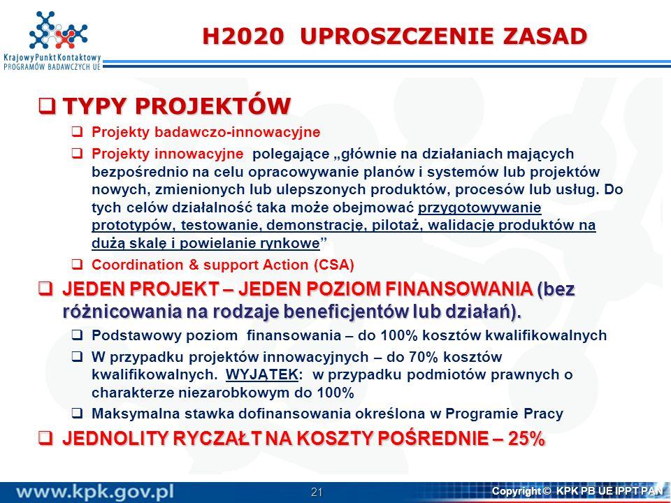 21 Copyright © KPK PB UE IPPT PAN H2020 UPROSZCZENIE ZASAD TYPY PROJEKTÓW TYPY PROJEKTÓW Projekty badawczo-innowacyjne Projekty innowacyjne polegające głównie na działaniach mających bezpośrednio na celu opracowywanie planów i systemów lub projektów nowych, zmienionych lub ulepszonych produktów, procesów lub usług.
