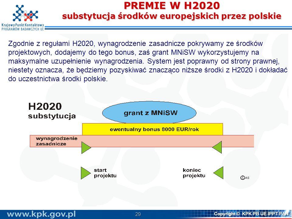 29 Copyright © KPK PB UE IPPT PAN PREMIE W H2020 substytucja środków europejskich przez polskie Zgodnie z regułami H2020, wynagrodzenie zasadnicze pokrywamy ze środków projektowych, dodajemy do tego bonus, zaś grant MNiSW wykorzystujemy na maksymalne uzupełnienie wynagrodzenia.