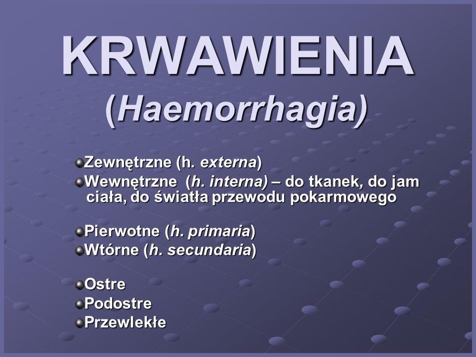 KRWAWIENIA (Haemorrhagia) Zewnętrzne (h.externa) Wewnętrzne (h.