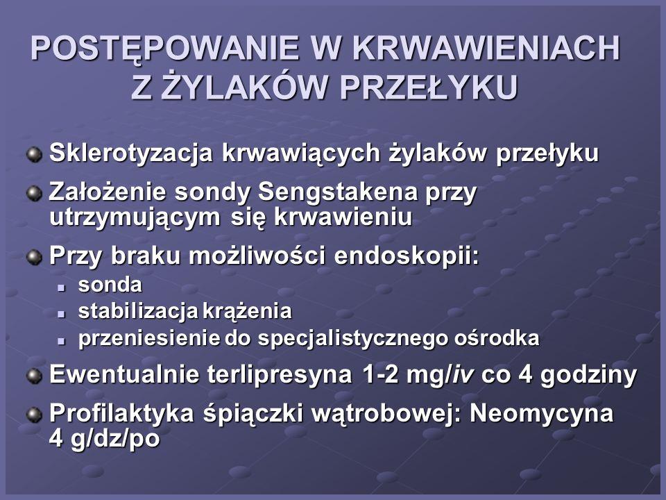 KRWAWIENIA Z ŻYLAKÓW PRZEŁYKU Leki p/krwotoczne (vit. K-, dicinon, Exacyl) Wasopresyna obniżająca ciśnienie krwi w żyle wrotnej Leki alkalizujące (tag
