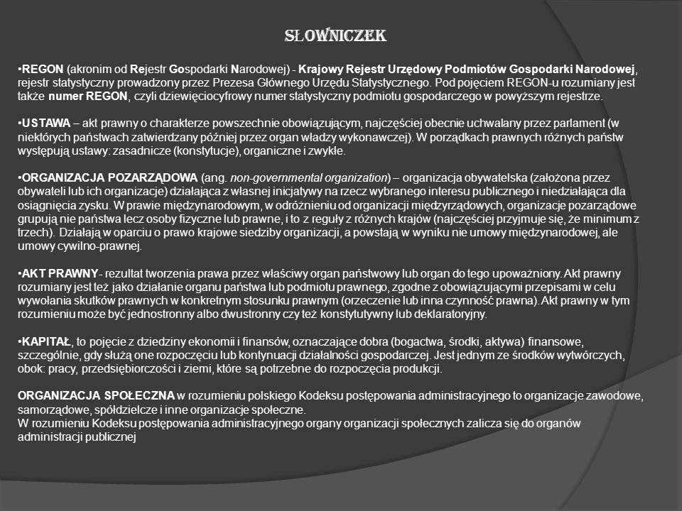 S Ł OWNICZEK REGON (akronim od Rejestr Gospodarki Narodowej) - Krajowy Rejestr Urzędowy Podmiotów Gospodarki Narodowej, rejestr statystyczny prowadzon