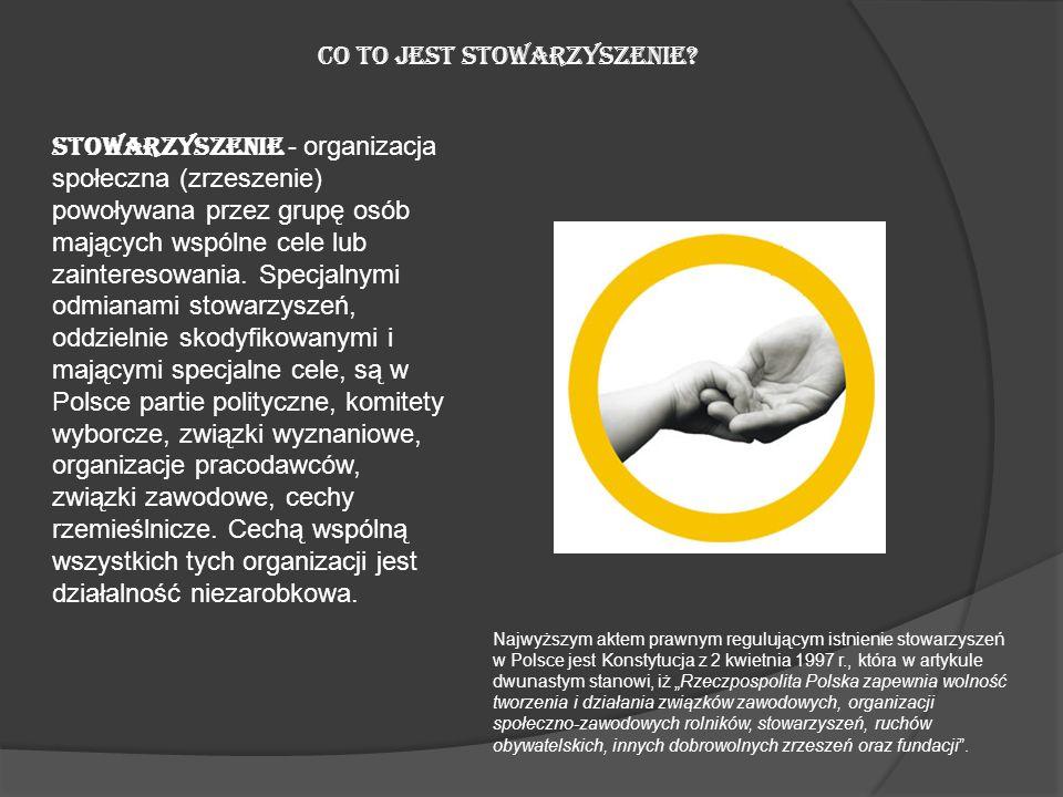 CO TO JEST STOWARZYSZENIE? Stowarzyszenie - organizacja społeczna (zrzeszenie) powoływana przez grupę osób mających wspólne cele lub zainteresowania.