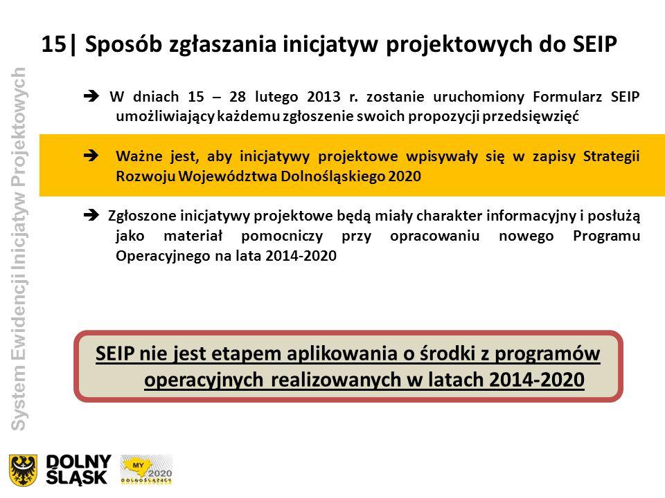 System Ewidencji Inicjatyw Projektowych W dniach 15 – 28 lutego 2013 r. zostanie uruchomiony Formularz SEIP umożliwiający każdemu zgłoszenie swoich pr