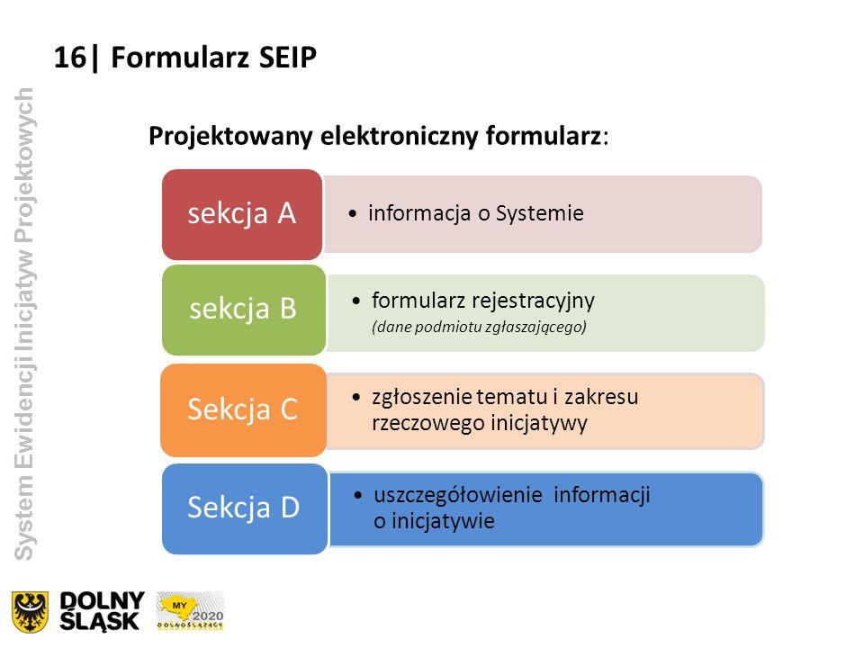 System Ewidencji Inicjatyw Projektowych Projektowany elektroniczny formularz: informacja o Systemie sekcja A formularz rejestracyjny (dane podmiotu zg