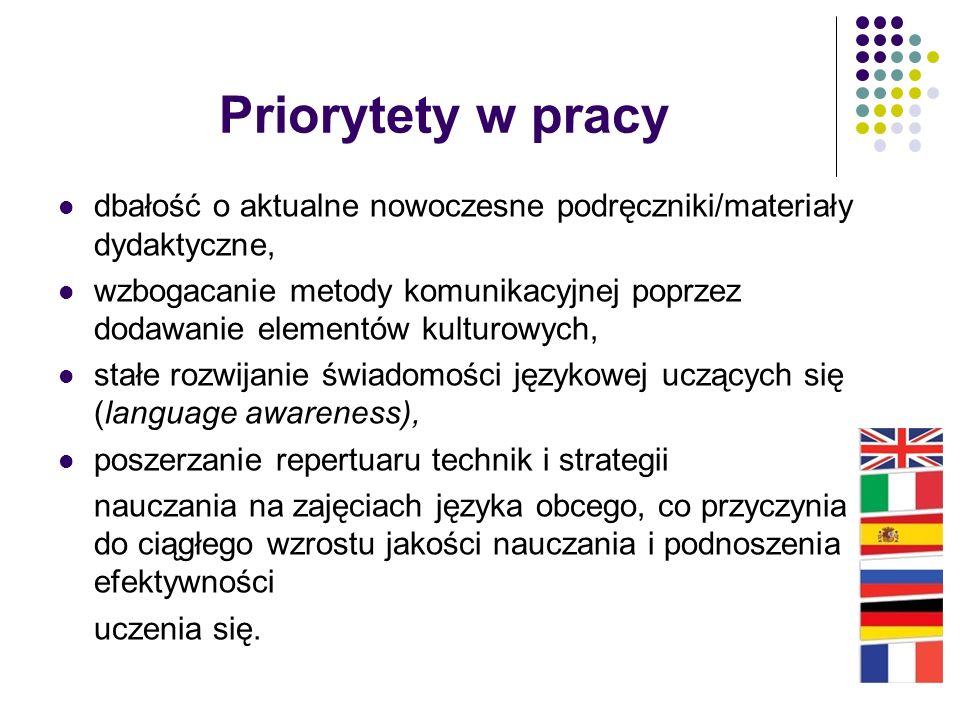 Priorytety w pracy dbałość o aktualne nowoczesne podręczniki/materiały dydaktyczne, wzbogacanie metody komunikacyjnej poprzez dodawanie elementów kult