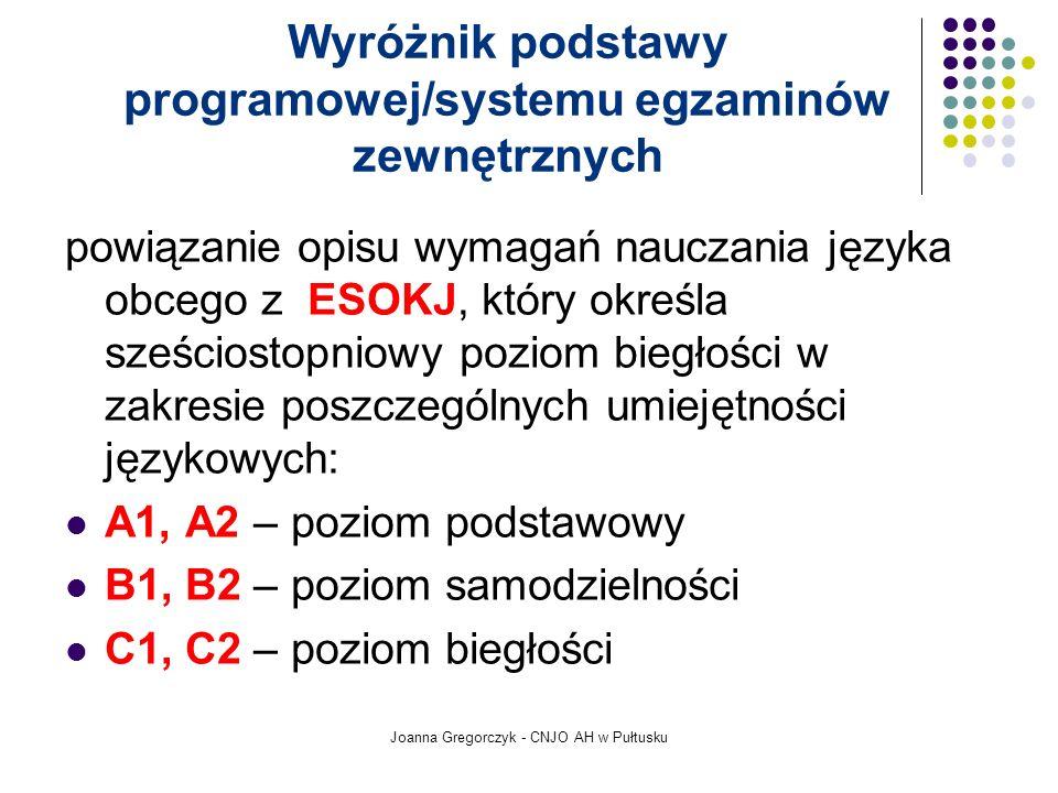 Joanna Gregorczyk - CNJO AH w Pułtusku Wyróżnik podstawy programowej/systemu egzaminów zewnętrznych powiązanie opisu wymagań nauczania języka obcego z ESOKJ, który określa sześciostopniowy poziom biegłości w zakresie poszczególnych umiejętności językowych: A1, A2 – poziom podstawowy B1, B2 – poziom samodzielności C1, C2 – poziom biegłości