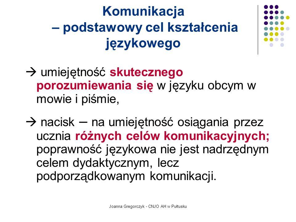 Joanna Gregorczyk - CNJO AH w Pułtusku Komunikacja – podstawowy cel kształcenia językowego umiejętność skutecznego porozumiewania się w języku obcym w mowie i piśmie, nacisk – na umiejętność osiągania przez ucznia różnych celów komunikacyjnych; poprawność językowa nie jest nadrzędnym celem dydaktycznym, lecz podporządkowanym komunikacji.