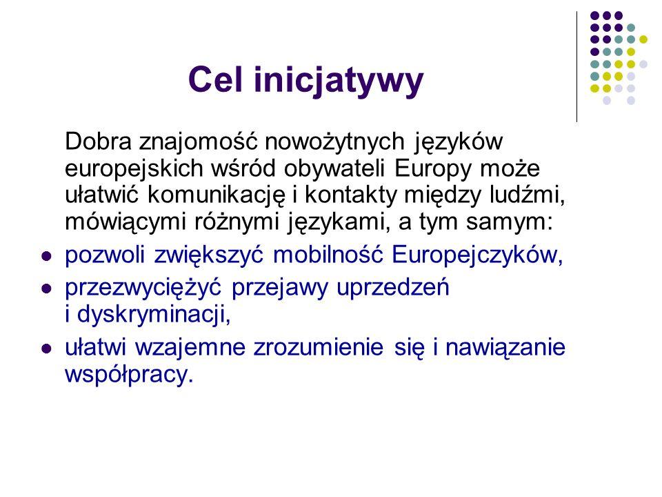 Cel inicjatywy Dobra znajomość nowożytnych języków europejskich wśród obywateli Europy może ułatwić komunikację i kontakty między ludźmi, mówiącymi ró