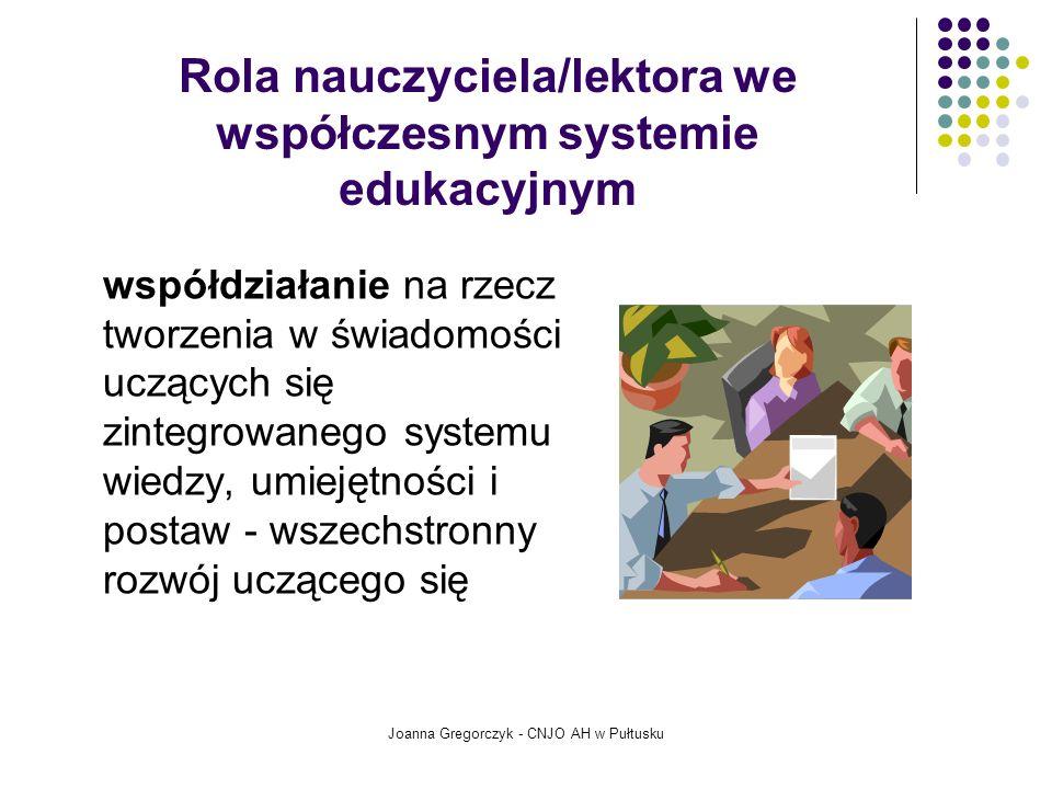 Rola nauczyciela/lektora we współczesnym systemie edukacyjnym współdziałanie na rzecz tworzenia w świadomości uczących się zintegrowanego systemu wiedzy, umiejętności i postaw - wszechstronny rozwój uczącego się Joanna Gregorczyk - CNJO AH w Pułtusku