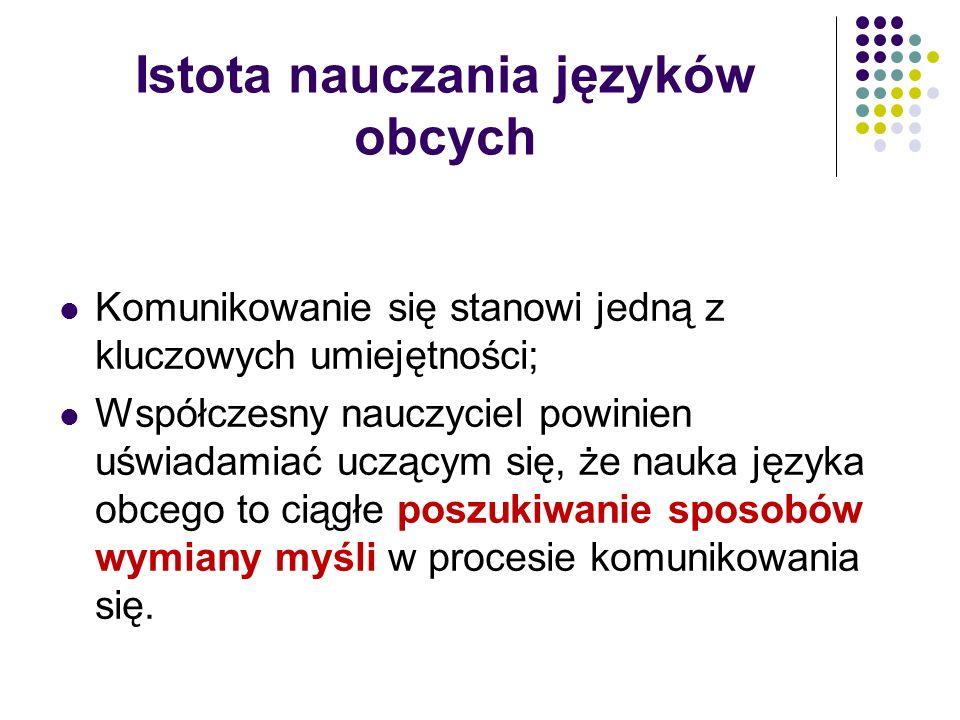 Metoda komunikacyjna na Zachodzie – lata 70-te jako wynik ewolucji wiedzy z zakresu teorii komunikacji w języku obcym; do Polski metoda komunikacyjna dotarła o dekadę później, a spopularyzowała się w ciągu ostatnich 20 lat.