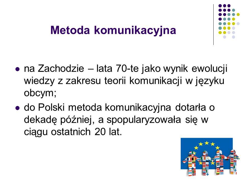 Metoda komunikacyjna na Zachodzie – lata 70-te jako wynik ewolucji wiedzy z zakresu teorii komunikacji w języku obcym; do Polski metoda komunikacyjna