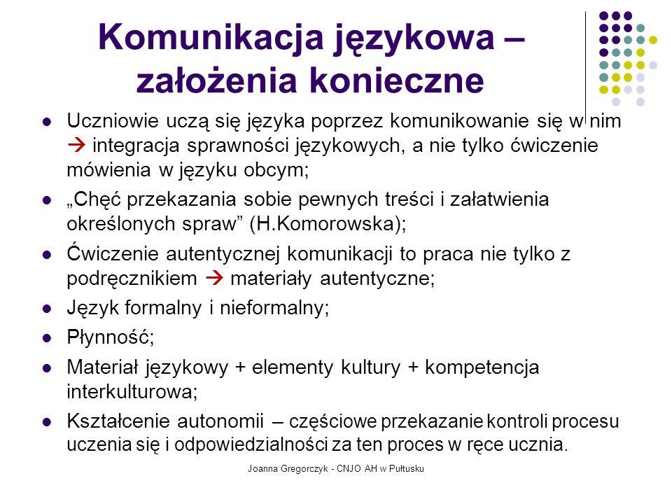 Struktura opisu szczegółowych standardów wymagań egzaminacyjnych Joanna Gregorczyk - CNJO AH w Pułtusku