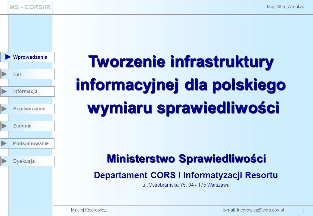 Maciej Kiedrowicz e-mail: kiedrowicz@cors.gov.pl 12 Maj 2005, Wrocław MS - CORSiIR Wprowadzenie Podsumowanie Cel Informacja Przetwarzanie Zadania Dyskusja Krajowy Rejestr Sądowy - topologia