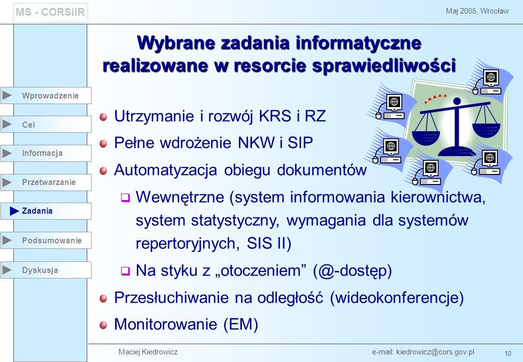 Maciej Kiedrowicz e-mail: kiedrowicz@cors.gov.pl 10 Maj 2005, Wrocław MS - CORSiIR Wprowadzenie Podsumowanie Cel Informacja Przetwarzanie Zadania Dysk