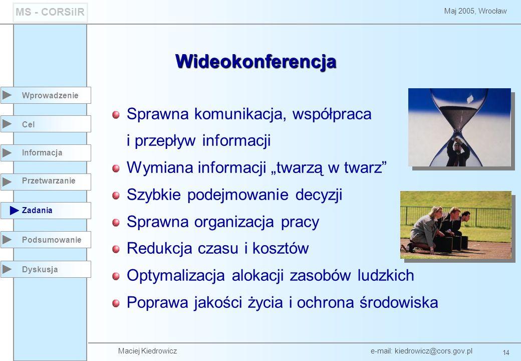 Maciej Kiedrowicz e-mail: kiedrowicz@cors.gov.pl 14 Maj 2005, Wrocław MS - CORSiIR Wprowadzenie Podsumowanie Cel Informacja Przetwarzanie Zadania Dyskusja Wideokonferencja Sprawna komunikacja, współpraca i przepływ informacji Wymiana informacji twarzą w twarz Szybkie podejmowanie decyzji Sprawna organizacja pracy Redukcja czasu i kosztów Optymalizacja alokacji zasobów ludzkich Poprawa jakości życia i ochrona środowiska