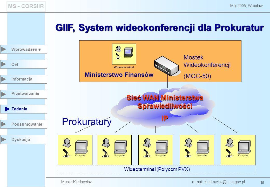 Maciej Kiedrowicz e-mail: kiedrowicz@cors.gov.pl 15 Maj 2005, Wrocław MS - CORSiIR Wprowadzenie Podsumowanie Cel Informacja Przetwarzanie Zadania Dysk