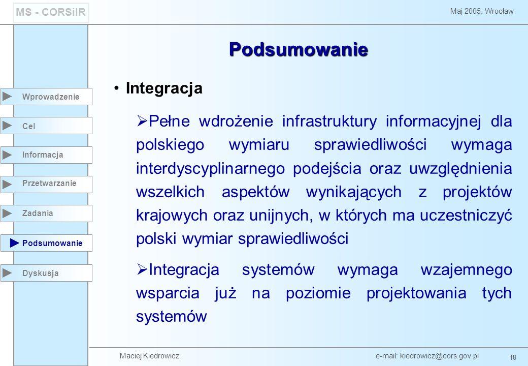 Maciej Kiedrowicz e-mail: kiedrowicz@cors.gov.pl 18 Maj 2005, Wrocław MS - CORSiIR Podsumowanie Wprowadzenie Podsumowanie Cel Informacja Przetwarzanie