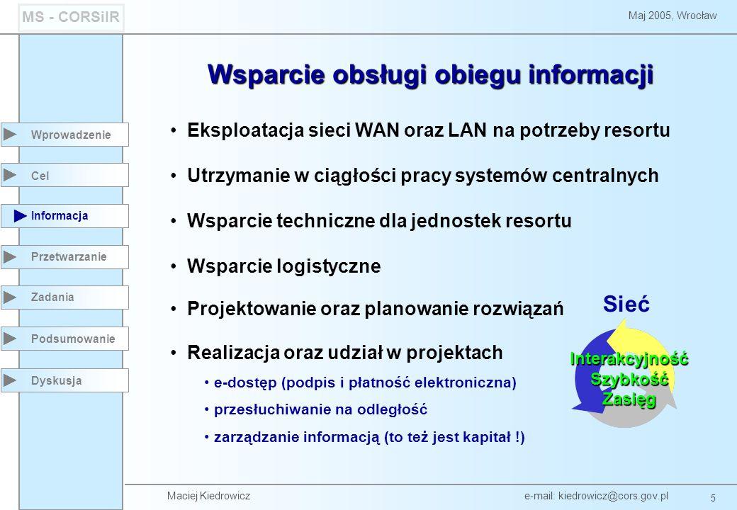 Maciej Kiedrowicz e-mail: kiedrowicz@cors.gov.pl 5 Maj 2005, Wrocław MS - CORSiIR Cel Informacja Przetwarzanie Zadania Dyskusja Wprowadzenie Sieć Inte