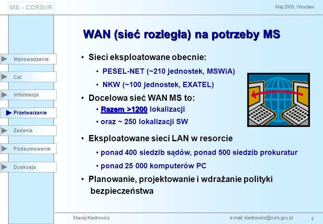 Maciej Kiedrowicz e-mail: kiedrowicz@cors.gov.pl 6 Maj 2005, Wrocław MS - CORSiIR WAN (sieć rozległa) na potrzeby MS Wprowadzenie Przetwarzanie Zadania Dyskusja Cel Informacja Sieci eksploatowane obecnie: PESEL-NET (~210 jednostek, MSWiA) NKW (~100 jednostek, EXATEL) Docelowa sieć WAN MS to: Razem >1200 Razem >1200 lokalizacji oraz ~ 250 lokalizacji SW Eksploatowane sieci LAN w resorcie ponad 400 siedzib sądów, ponad 500 siedzib prokuratur ponad 25 000 komputerów PC Planowanie, projektowanie i wdrażanie polityki bezpieczeństwa Podsumowanie