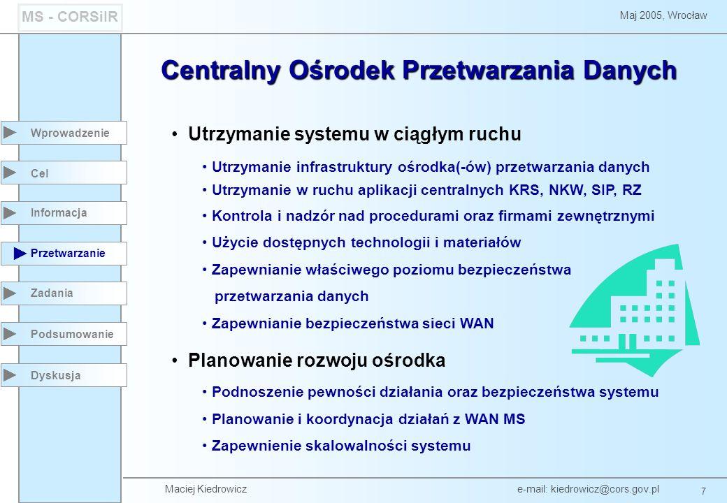 Maciej Kiedrowicz e-mail: kiedrowicz@cors.gov.pl 7 Maj 2005, Wrocław MS - CORSiIR Utrzymanie systemu w ciągłym ruchu Utrzymanie infrastruktury ośrodka